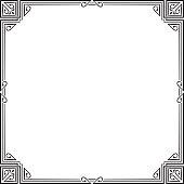 Ornate black square frame, corners. Art Nouveau style.