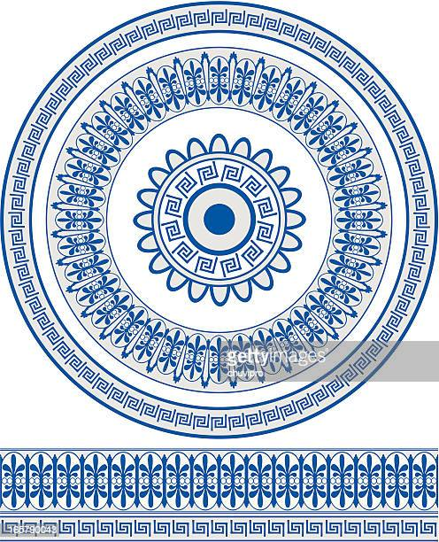 ornate blue greek style circular pattern and border - greece stock illustrations
