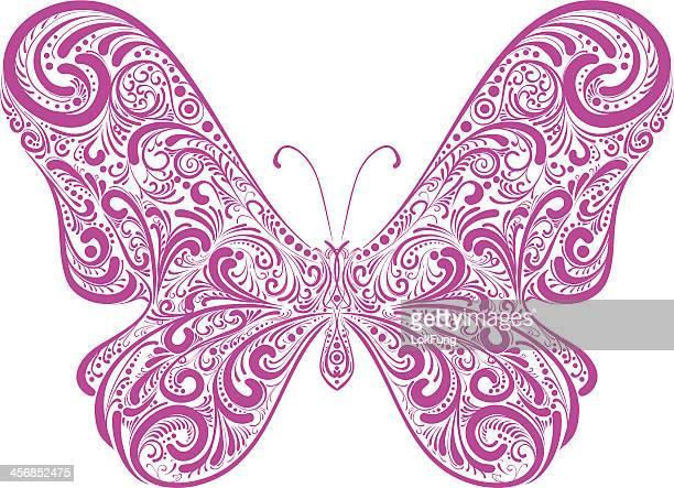 ilustrações, clipart, desenhos animados e ícones de ornado butterfly- ilustração - lepidóptero