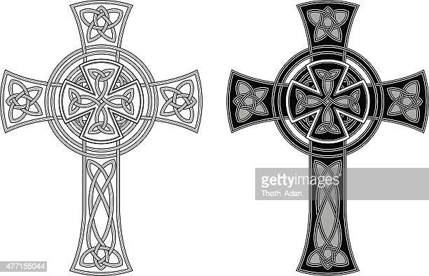 ornate celtic cross (knotted cross variation n° 3) - celtic music stock illustrations, clip art, cartoons, & icons