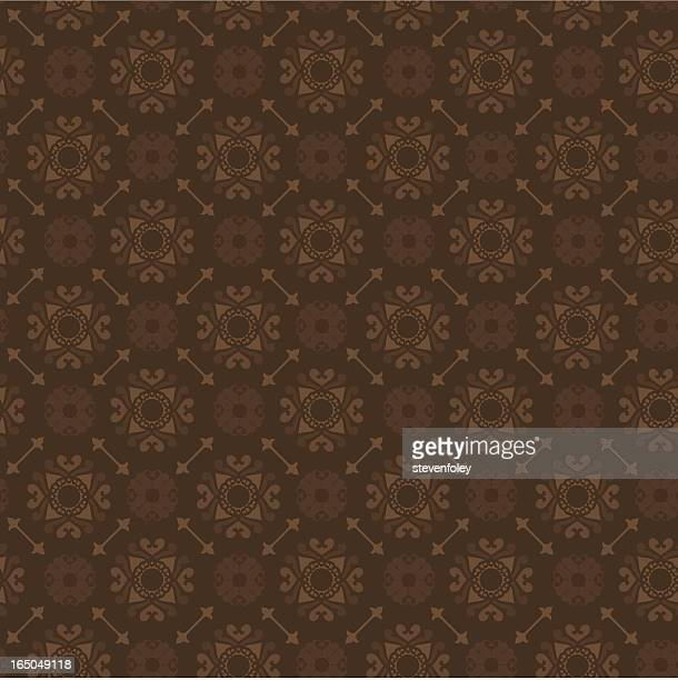 Ornate chocolate brown wallpaper with circular motifs