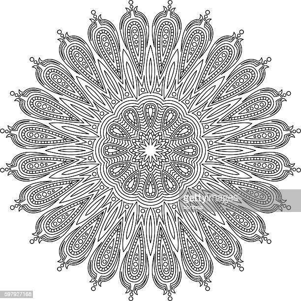 ornate circular mandala design, black and white line art - mandalas india stock illustrations