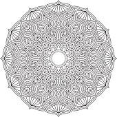 Ornate Circular Mandala Design, Black and White Line Art