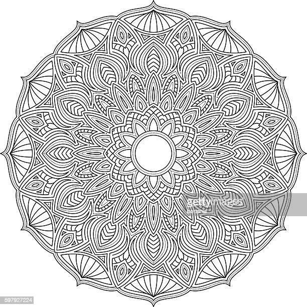 Ornate Circular Mandala Design, Black and White Line Art