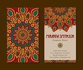 Ornate Circular Mandala Multicolored Business Card Designs