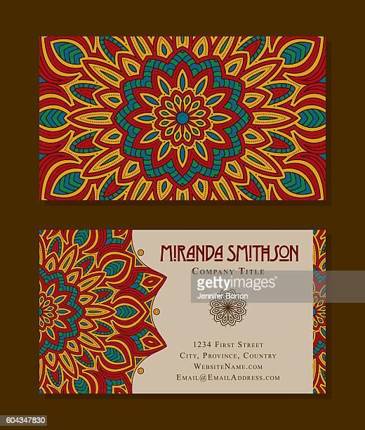 ornate circular mandala multicolored business card designs - ceremony stock illustrations