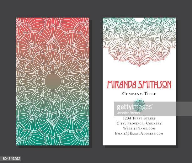 ornate circular mandala multicolored business card designs - mandalas india stock illustrations