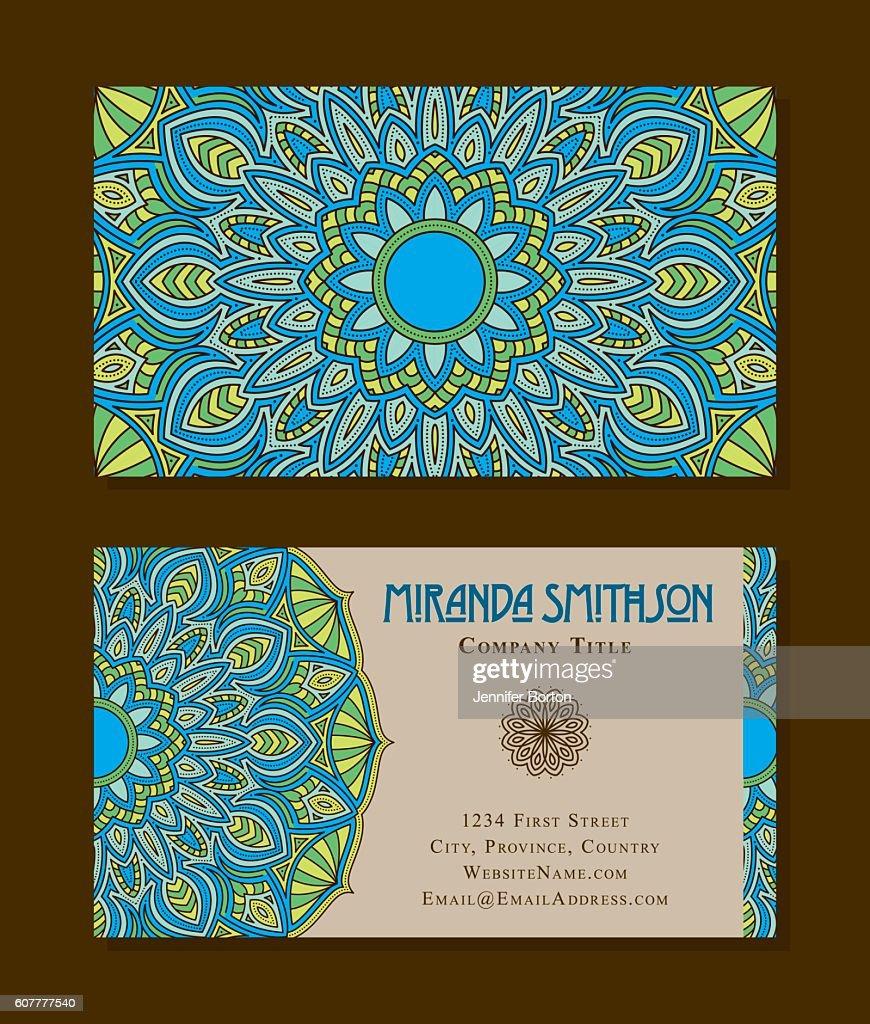 Ornate Circular Mandala Multicolored Business Card Designs Vector ...