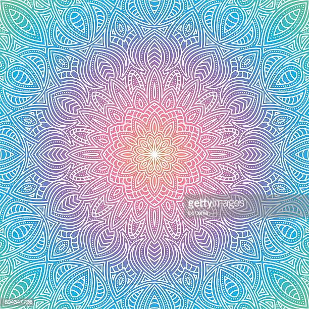 ornate circular mandala multicolored designs - spirituality stock illustrations