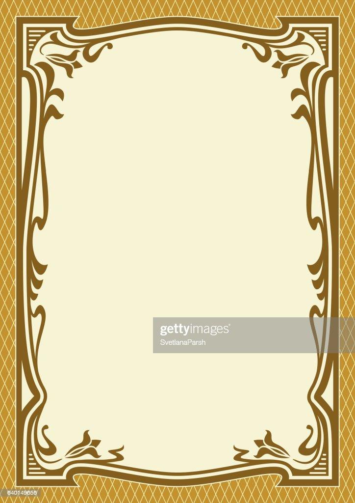 Ornate color frame, background. Art Nouveau style.