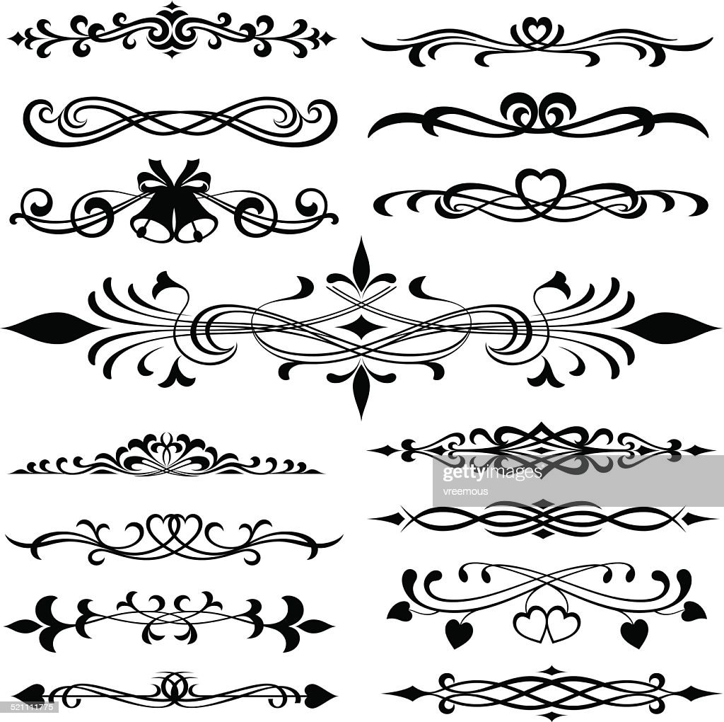 ornate decorative swirls and design elements vector art