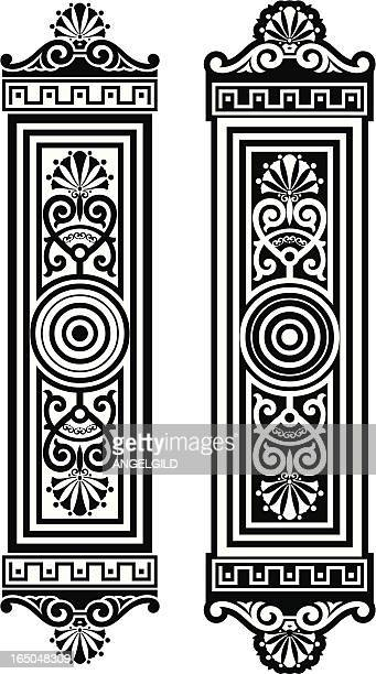 ornate door plates - embellishment stock illustrations