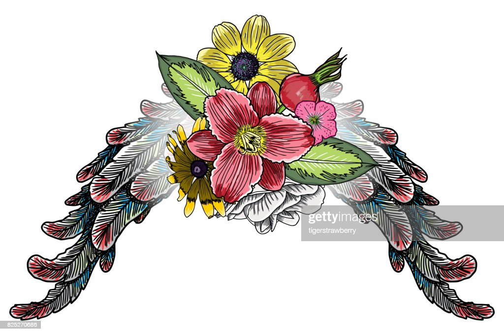 Ornate Fashioned Wings And Elegant Vintage Flower Bouquet Isolated ...