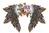 Ornate fashioned wings and elegant vintage flower bouquet, isolated Victorian motif style art. Rose and flowers with angel or bird wings flash tattoo design elements. Drawing girl style. Vector.