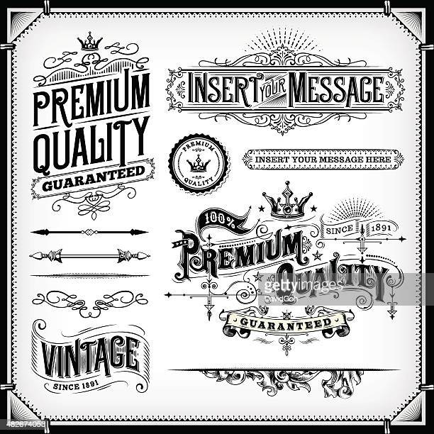 ornate frames and banners - retro style stock illustrations