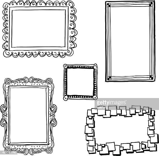 ornate frames in sketch style - picture frame stock illustrations