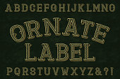 Ornate label font. Isolated english alphabet.