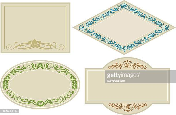 ornate labels and cards - memorial plaque stock illustrations, clip art, cartoons, & icons