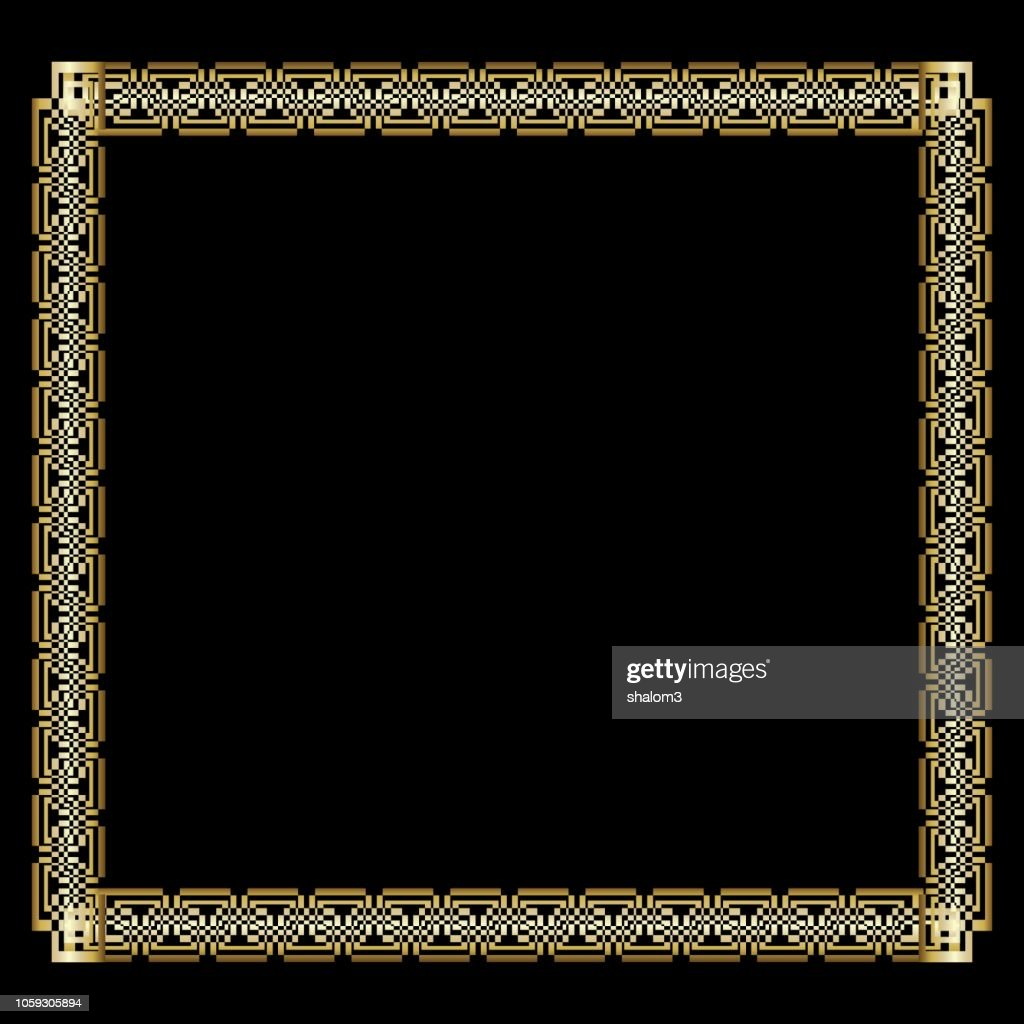 Ornate luxurious golden frame in art deco style on black background. Elegant square border with 3d embossed effect. Unusual decorative label design,