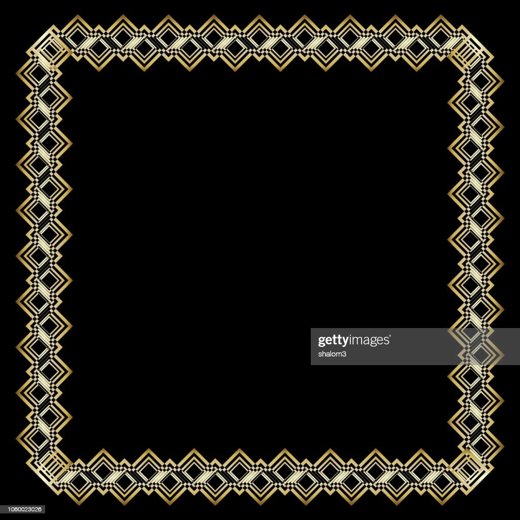 Ornate luxurious golden frame in art deco style on black background. Square border with 3d embossed effect. Elegant decorative label design