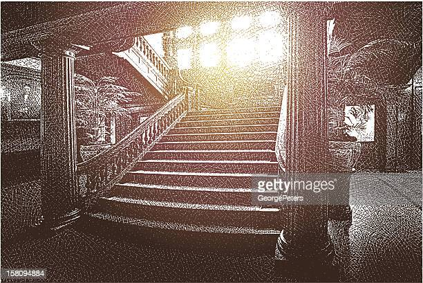 ornate mansion staircase - entrance hall stock illustrations, clip art, cartoons, & icons