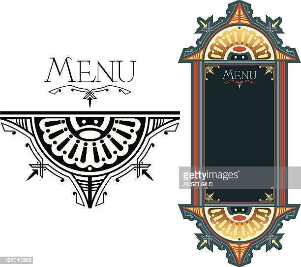 ornate menu design - art nouveau stock illustrations, clip art, cartoons, & icons