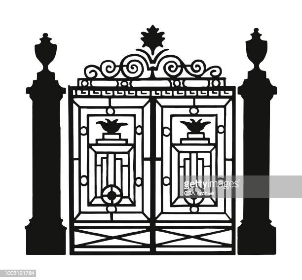 ornate metal gate - iron metal stock illustrations