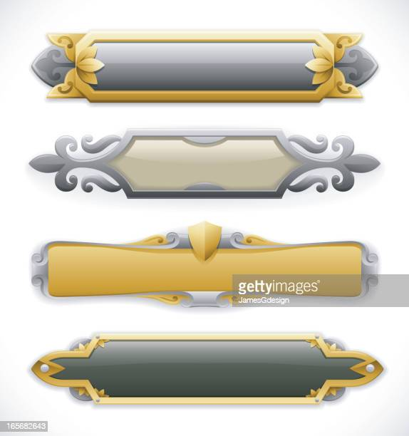 ornate metal nameplate banners - nameplate stock illustrations