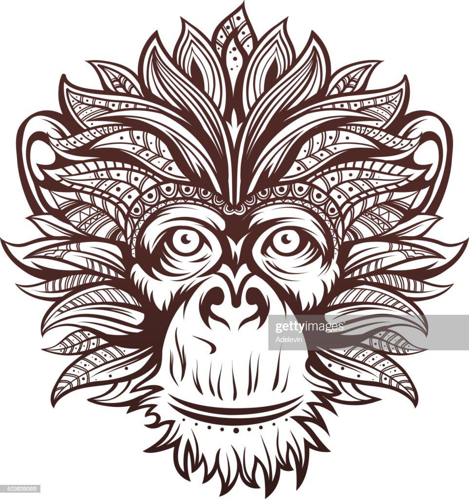 Ornate Monkey Head : stock illustration