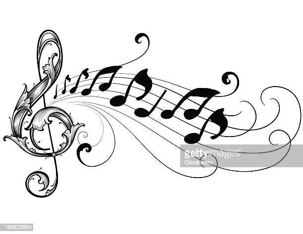 ornate musical treble clef - treble clef stock illustrations, clip art, cartoons, & icons