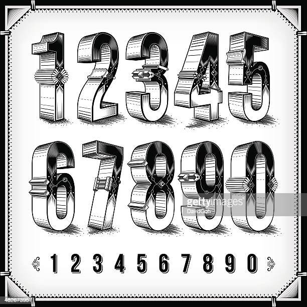 ornate numerals - number stock illustrations