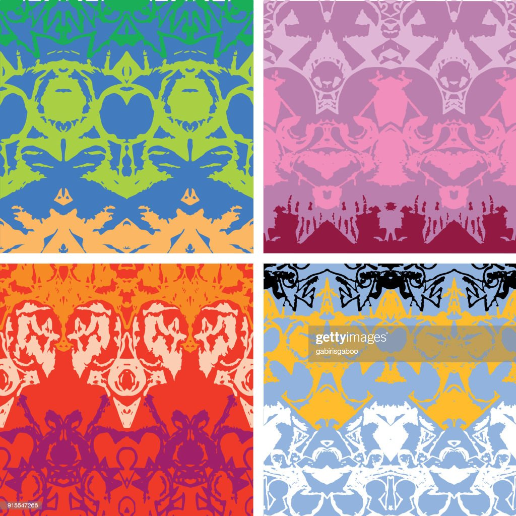 Ornate pattern, four versions on one image