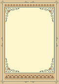 Ornate rectangular framework, retro style. Template for certificate, diploma, announcement, label. A3 proportions. Decorative corners. Pattern brushes included.
