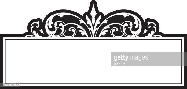 ornate scrolled panel design - scrollen stock illustrations