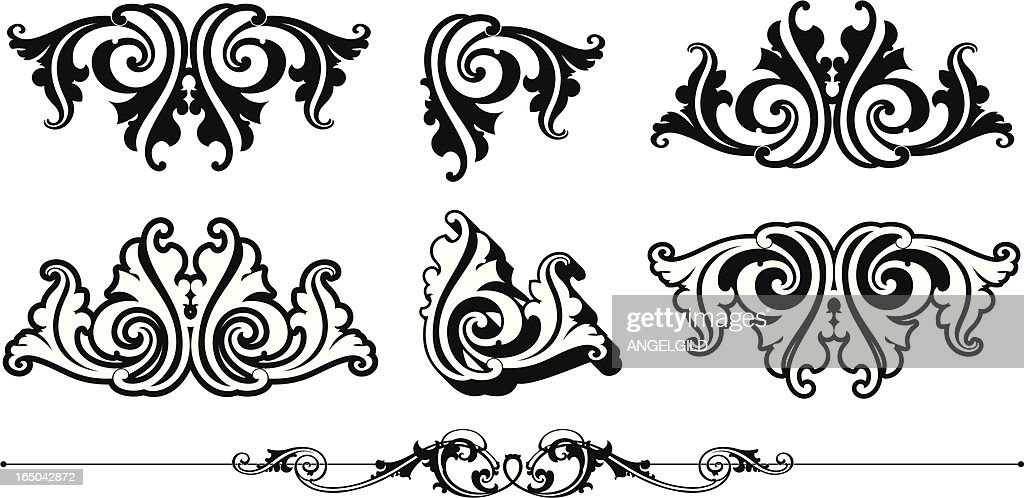 Ornate Scrolls and Rule : stock illustration