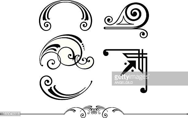 ornate scrolls corner and rule design - embellishment stock illustrations