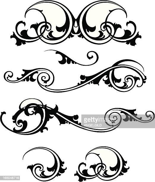 ornate scrolls - gothic style stock illustrations, clip art, cartoons, & icons