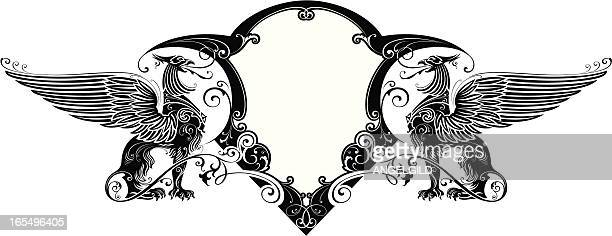 ornate sheild design - griffin stock illustrations, clip art, cartoons, & icons