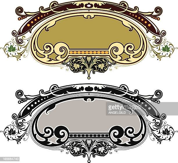 ornate sign panel - filigree stock illustrations