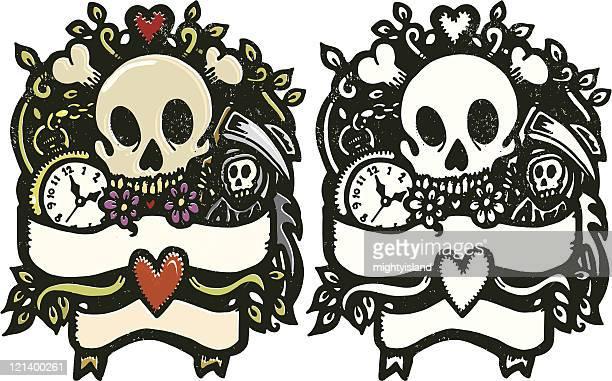 ilustraciones, imágenes clip art, dibujos animados e iconos de stock de ornamentado cráneo - la muerte