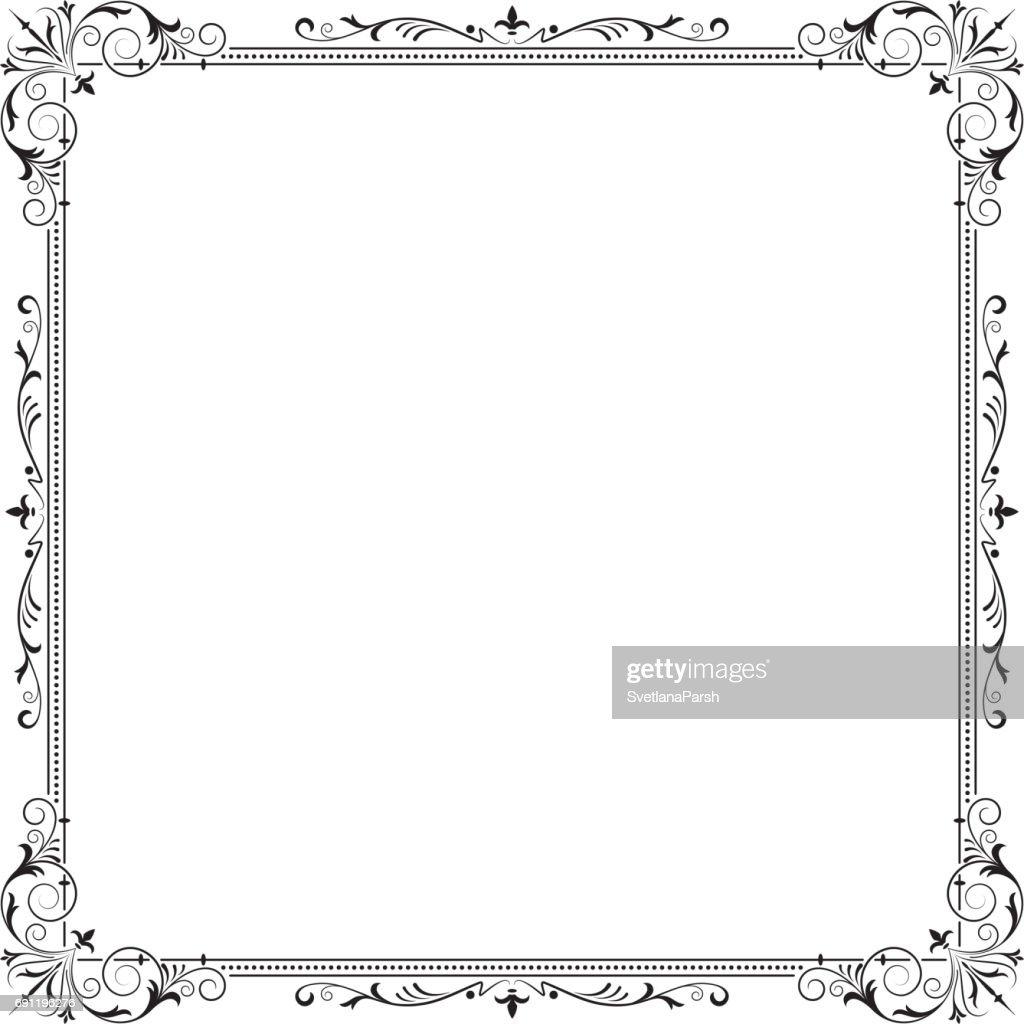 Reich Verzierte Quadratischen Schwarzen Rahmen Für Seite Dekoration ...