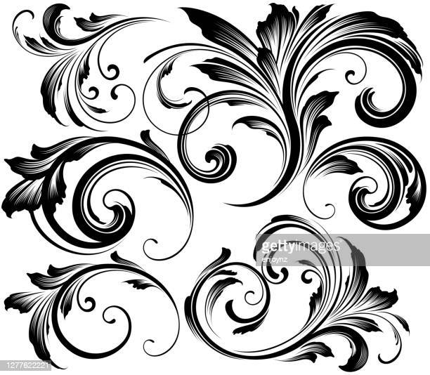 ornate swirling floral motif vector - carving craft product stock illustrations