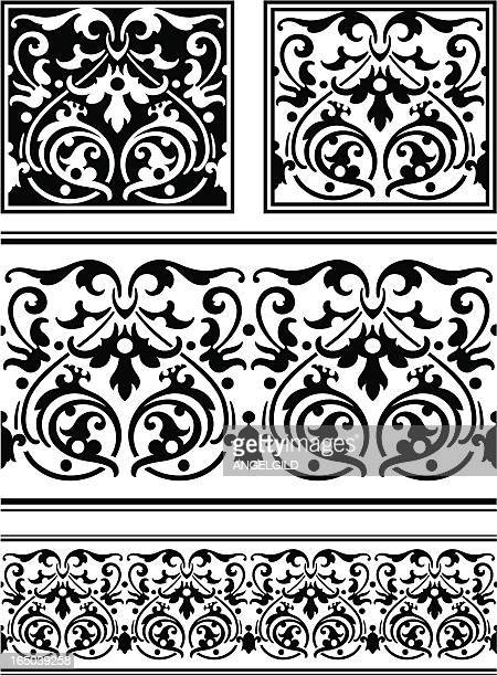 ornate tile and frieze - high renaissance stock illustrations