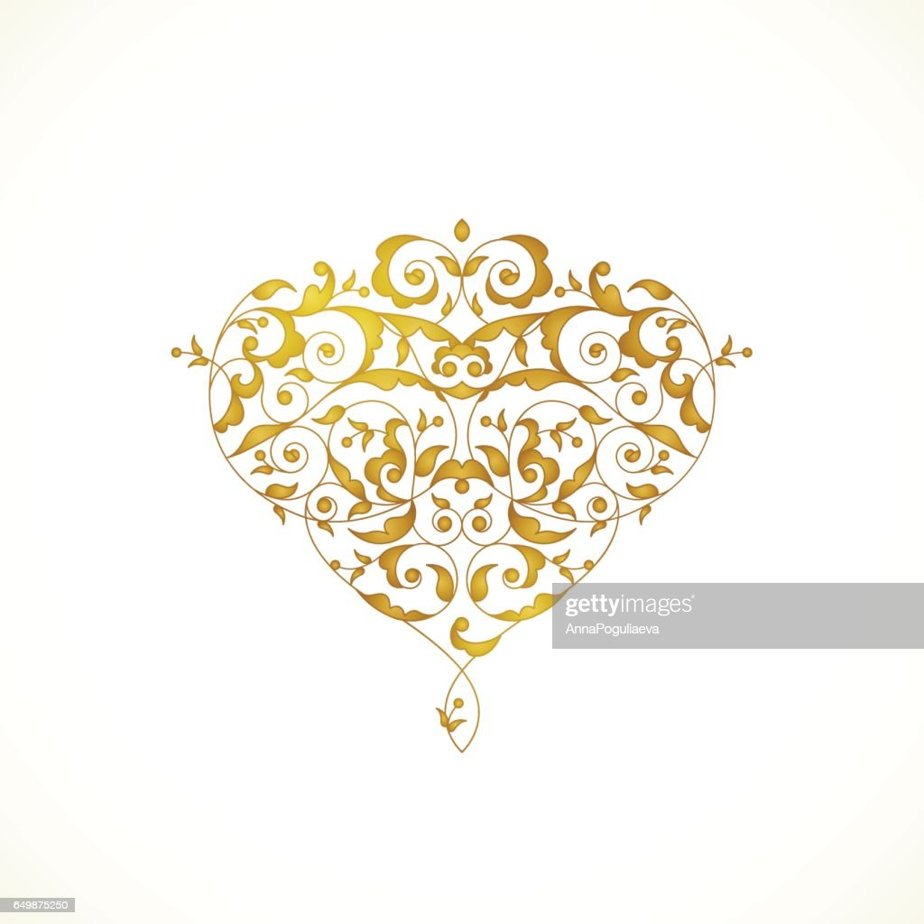 Ornate vector heart in Eastern style.