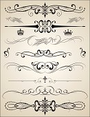 Ornate Vector Page Rules calligraphic