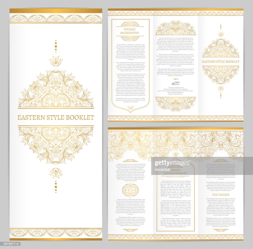 Ornate vintage booklet with line art floral decor.