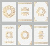 Ornate vintage cards with line art frames and borders