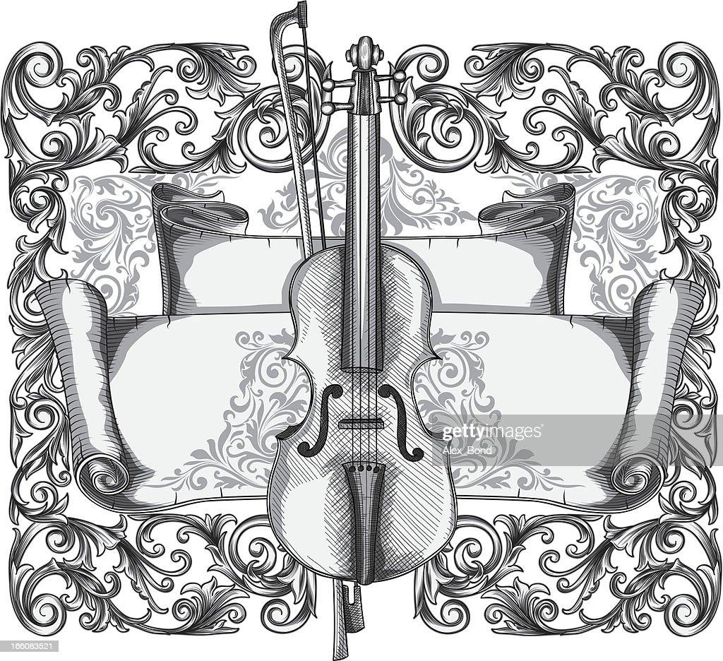 Ornate violin : Vector Art