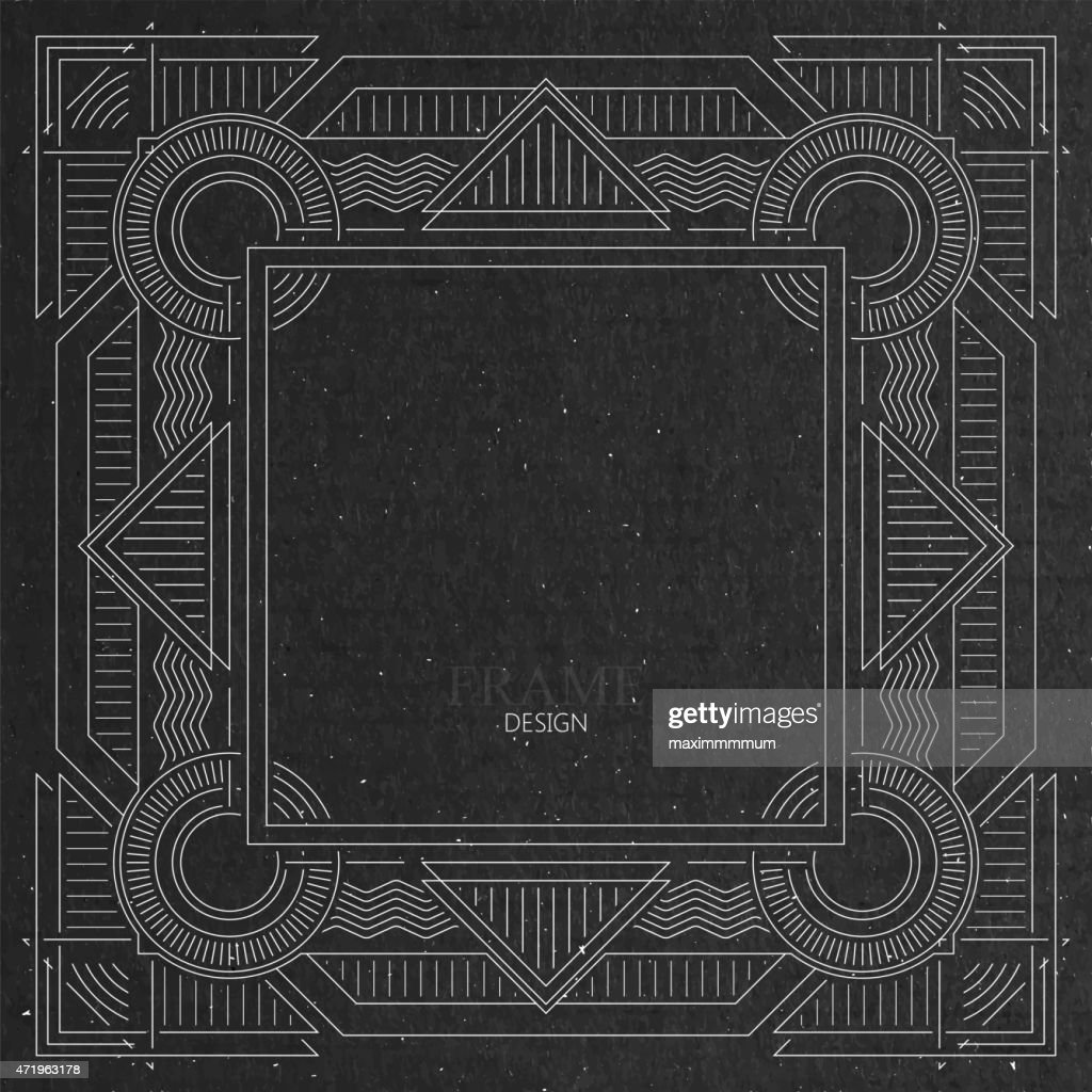Ornate white Art Deco-style frame on gray cardboard texture