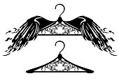 ornate winged hanger black vector design
